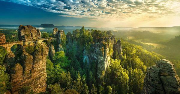 Sunset Germany Saxon Switzerland Forest Landscape Hintergrund Hintergrundbilder Desktop Hintergrund Weisser Hintergrund Sc In 2020 Forest Landscape Landscape Nature