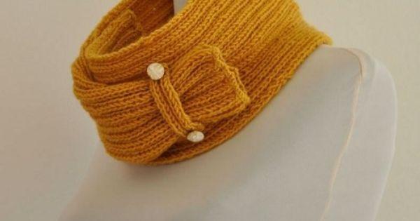 ... Neckwarmer Mustard Cozy Warm Wool Hand Knit   Cowls, Mustard and Wool