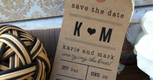 kraft paper + lace Save the Date Luggage Tag by paperandlaceaustin on