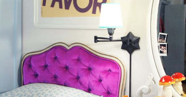 This outlandishly purple headboard is perfect for a little girl's room –