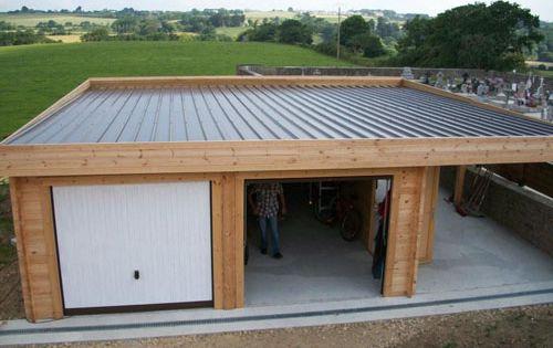 Hangar bois recherche google logement pinterest for Surelevation bois toit plat