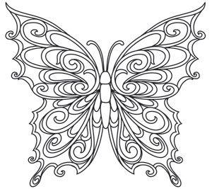 Baroque Natura Butterfly Kelebekler Serigrafi Boyama Sayfalari
