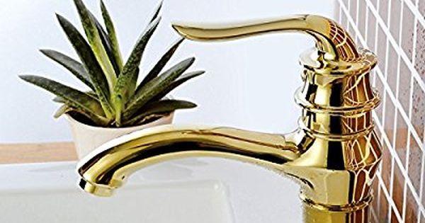 Azos 浴室設備 洗面器の蛇口 黄銅製 金色単穴 台付 冷熱混合水栓 Mpxl005g 1 水栓 洗面器