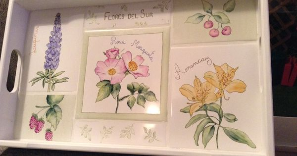 Bandeja de azulejos pintados a mano con flores aut ctonas - Azulejos con flores ...