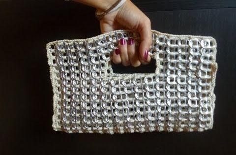 Como hacer un bolso de fiesta con anillas de lata parte 1 - Como hacer bolsos con salvamanteles ...