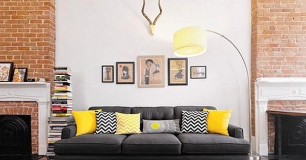 Deko Ideen Wohnzimmer Gelb-weiß-schwarz Muster-kissen | Deko ... Wohnzimmer Schwarz Weis Gelb