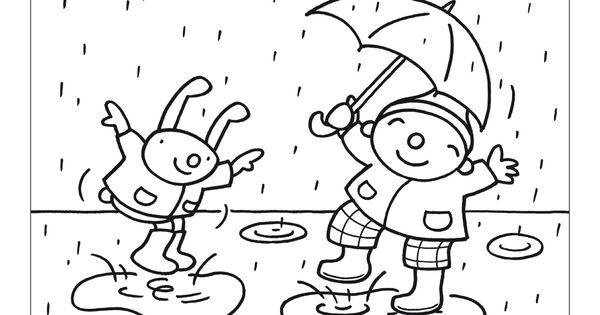 uk en puk kleurplaten regen