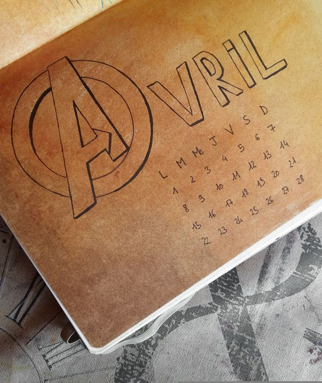 Bullet Journal Avengers : Monthly wiew