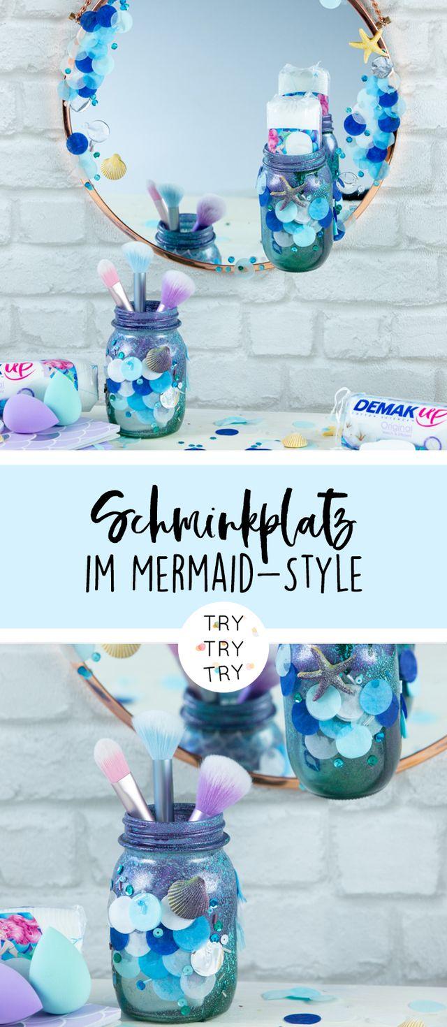 DIY Schminkplatz im Mermaid-Style mit Demak'Up