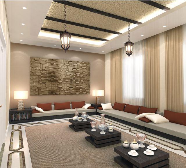 تصميم بسيط و راقي لديكورات مجلس مع مشربية عند النافذة Interior Design For Men Majlis With Ceiling Design Living Room Sofa Bed Living Room Apartment Living Room