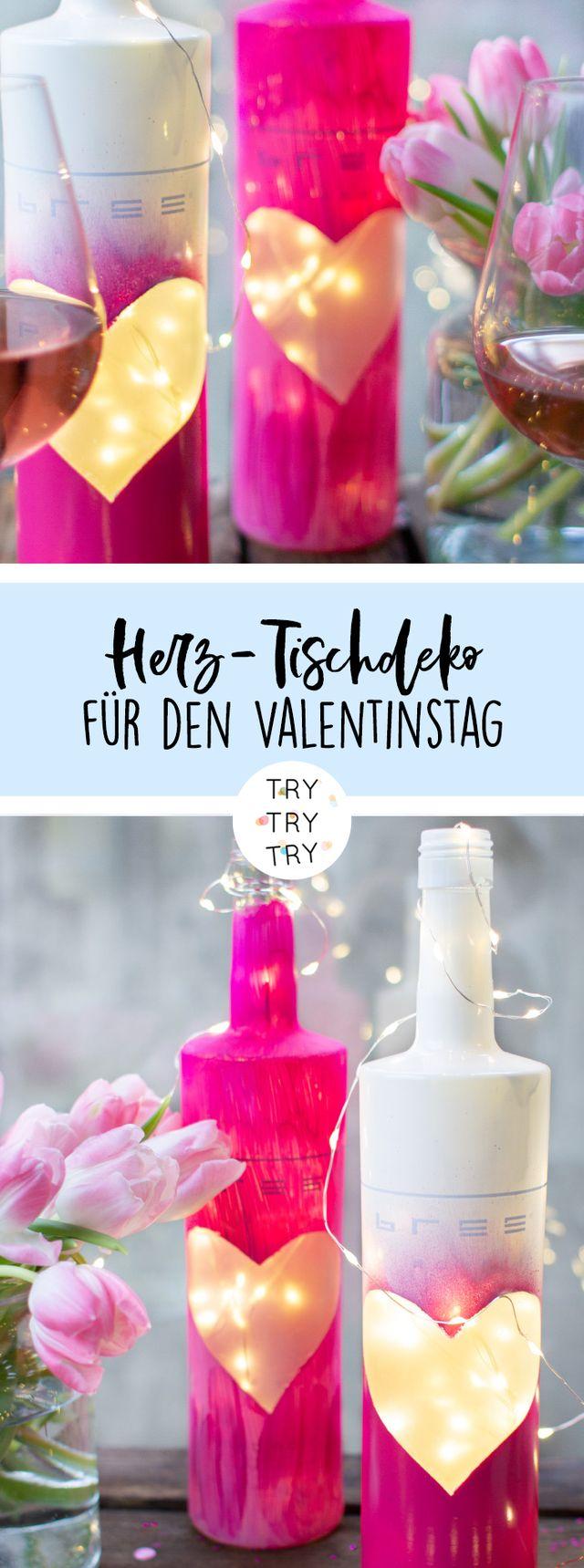 DIY Tischdeko zum Valentinstag aus Weinflaschen (mit Bree Wein)