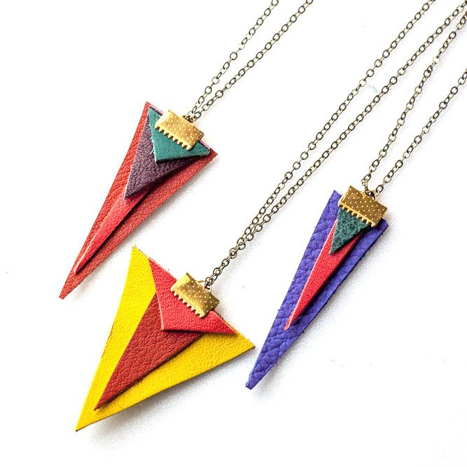 DIY Leather Accessories: Geometric Necklace