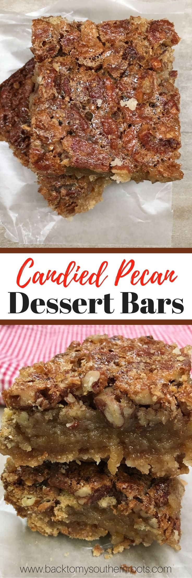 Candied Pecan Dessert Bars are an easy treat to make. The pecan bars are a delicious dessert for any time of the year, but especially the Thanksgiving and Christmas Holidays. via @juliepollittbacktomysouthernroots