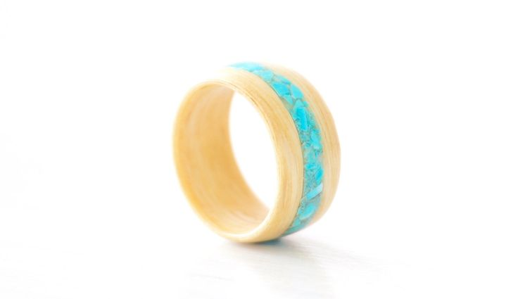 Turquoise inlay Silver Ash bentwood ring - handcrafted wood ring - handmade in Byron Bay - handmade wedding ring by ByronBound on Etsy https://www.etsy.com/listing/264189666/turquoise-inlay-silver-ash-bentwood-ring