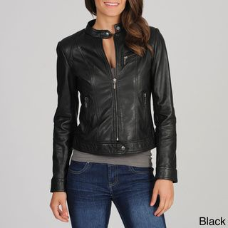 @Overstock.com - Whet blu Women's Motocross Leather Jacket - Sleek and flattering in all the right places, this Whet blu jacket features long, comfortable sleeves with stretchy cuffs. With several pockets and a convenient front zipper, this fashionable jacket is the perfect addition to your wardrobe.  http://www.overstock.com/Clothing-Shoes/Whet-blu-Womens-Motocross-Leather-Jacket/8240288/product.html?CID=214117 $179.99