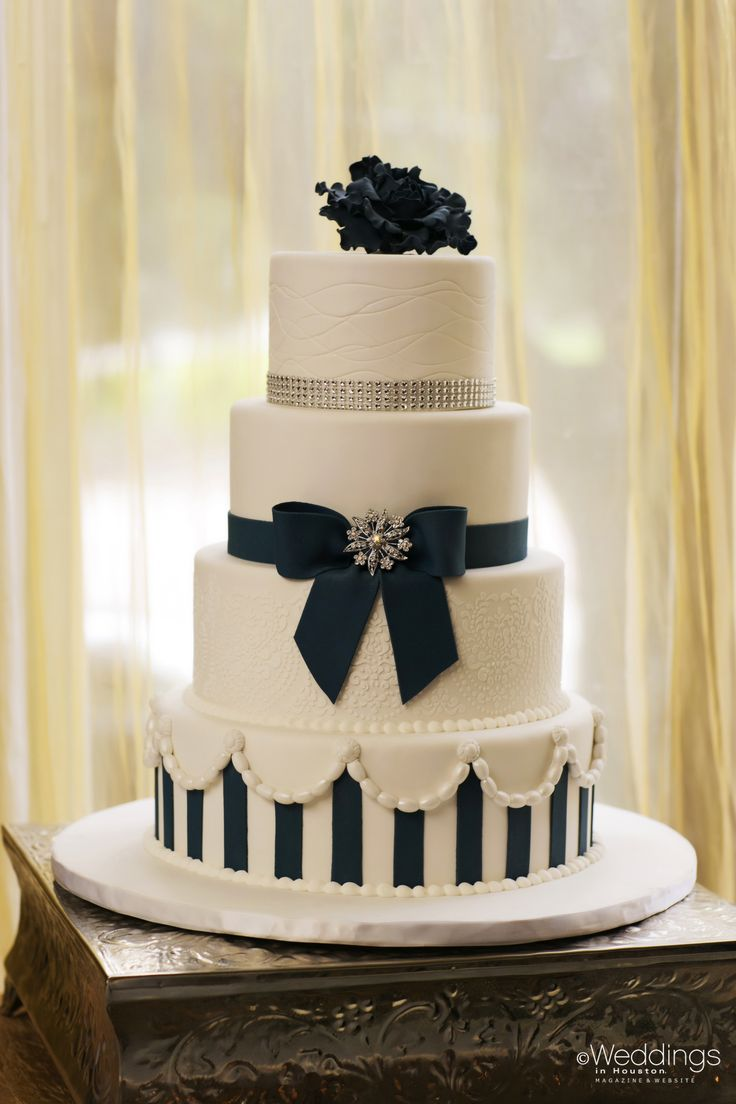Classic White And Navy Blue Accented Wedding Cake Dream Cakes Photo D