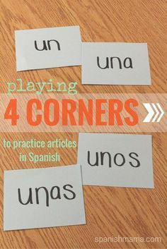 Mi Vida Loca Episode 2: Un amigo. Play 4 corners to practice definite and indefinite articles in Spanish by labeling each corner as an article. Free worksheets for Mi Vida Loca as well.