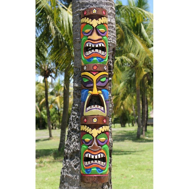 color of carved tiki heads | ... Wadri › Fairtrade Carved Wooden Triple Face Wiki Tiki Mask | 100cm