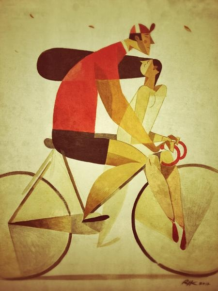 couple riding bike together