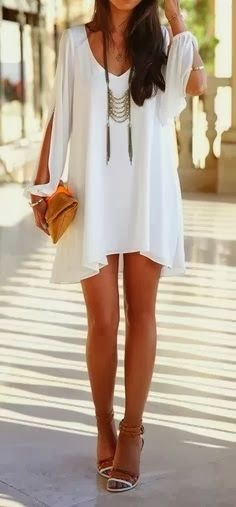 White Mini Dress - Long Ladder Necklace | $25.00 | Free USA Shipping