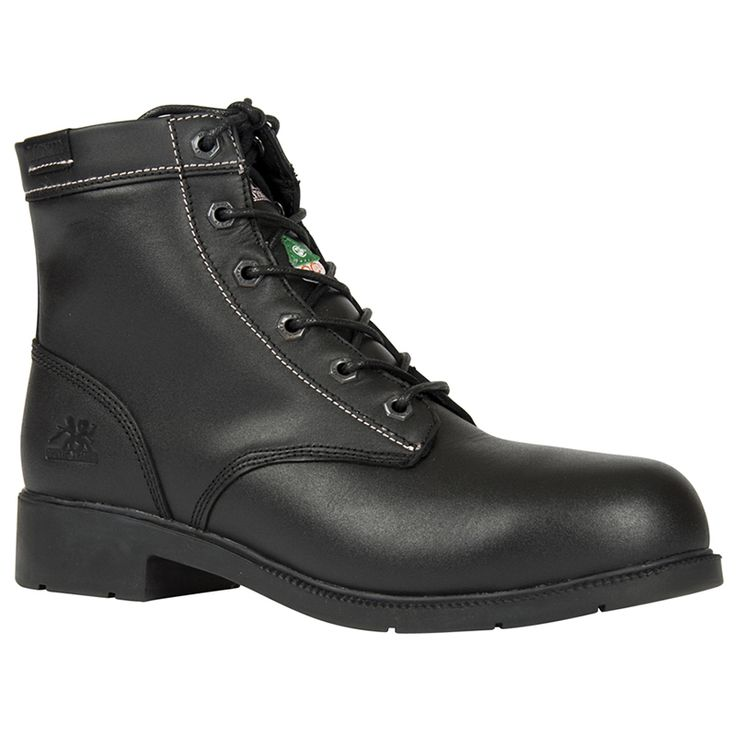 Dani Black 6″ Duty Work Boot for women Reg. $119.99 Now $60.00 Full grain leather upper Aluminum toe Composite Plate Rust proof hexagon gun metal eyelets PK abrasion resistant lining Removable cushioned EVA insole ANTI-SLIP and oil resistant rubber outsole CSA approved Grade 1 Electric Shock Resistant Meets or exceeds ASTM 2413-05 requirements
