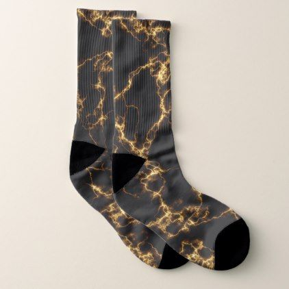 Elegant Marble style3 - Black Gold Socks - marble gifts style stylish nature unique personalize