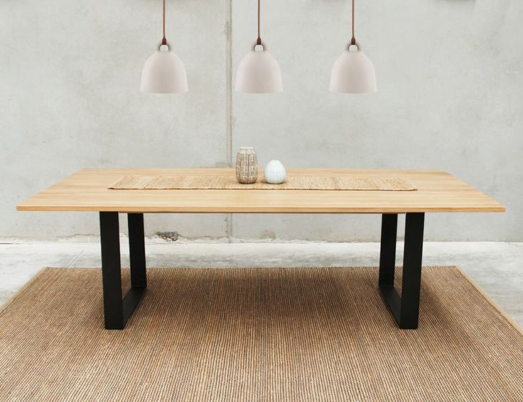 Odense Black Steel Leg Solid European Oak Rectangle 2400x1200 Box End Dining Table by Bent Design Studio for Huset
