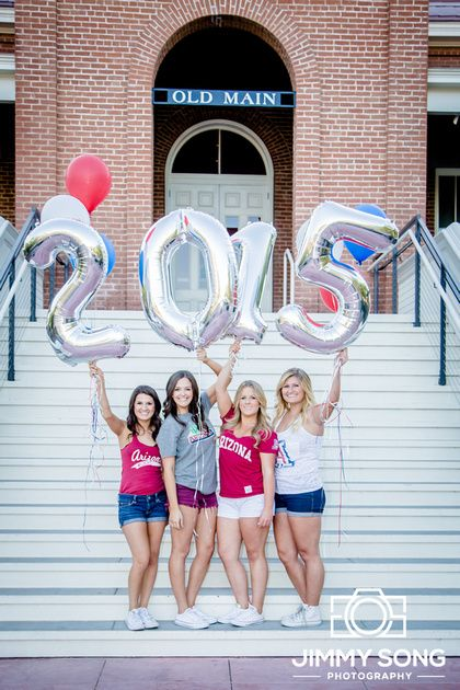 University of Arizona Senior Graduation Grad Photo Portraits Idea Fun Smile Happy Sorority Dress Pose balloons