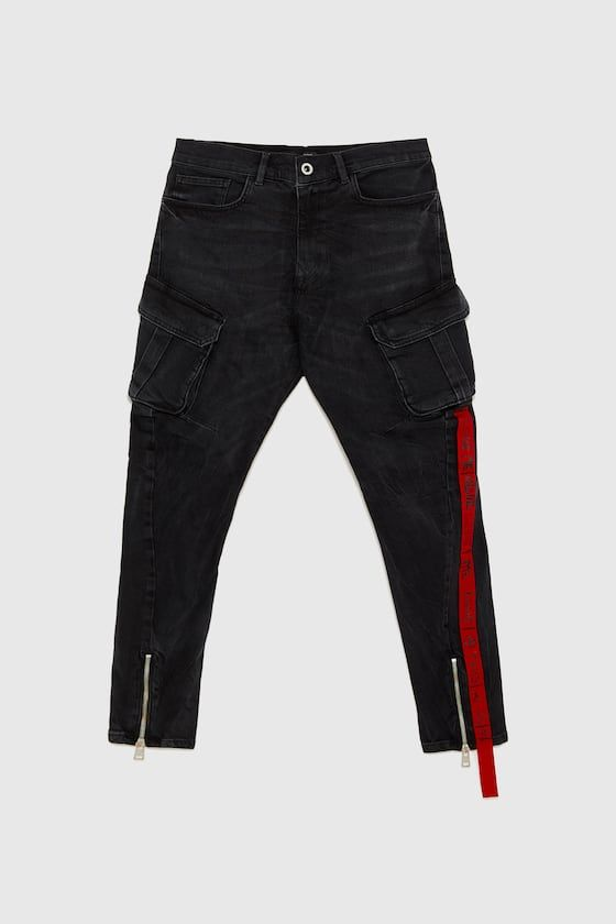 593e3e6f Image 6 of DENIM CARGO PANTS WITH SIDE STRAP from Zara | Men clothes ...