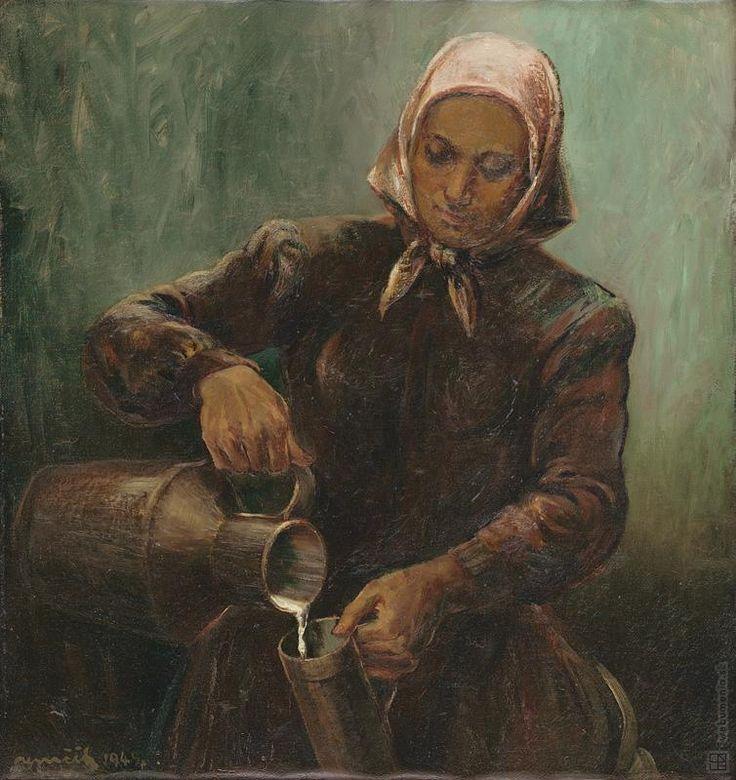 Július Nemčík: Mliekárka:1949