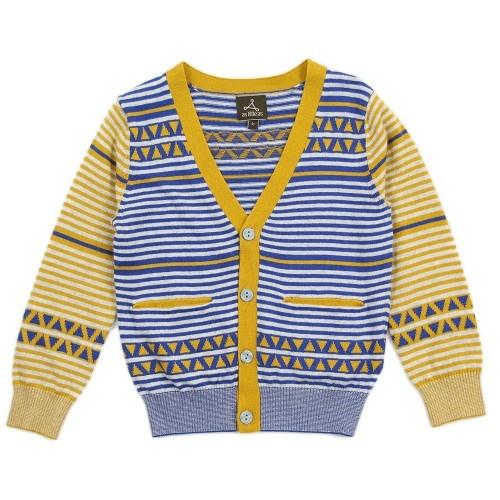 Boy Yellow Multi Stripes Cardigan - TRINITY