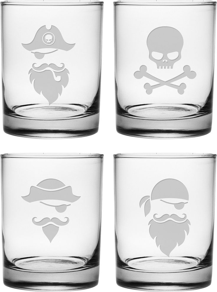 4 Piece Pirate Faces 14 Oz. 4 Piece Rocks Glass Set