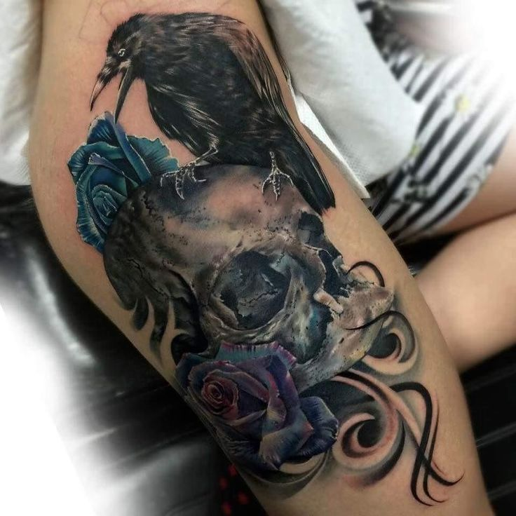 #tattoo rose skull and raven