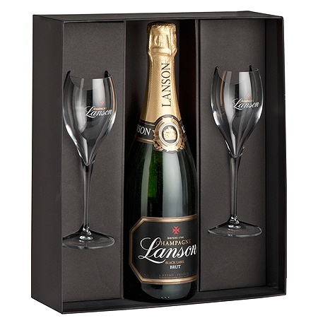 Lanson Champagne & 2 Glass Gift Pack - Beautiful box set that is perfectly suited to true lovers of the world's most romantic drink, Champagne. Wonderfully packaged in a limited edition gift box with two expertly crafted Champagne flutes, the Lanson Black Label itself is also an item of true beauty. Fresh, citrus zest with lovely toasty complexity, Lanson is the perfect Champagne for any dinner table. Gift Delivery in Melbourne, Sydney & Australia $98.00