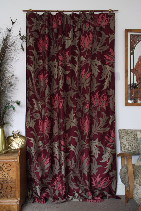 William Morris Planet Velvet Lined Portiere Door by TheMorrisRoom