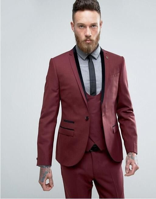 Latest Coat Pant Designs Burgundy Double Breasted Slim Fit 3 Piece