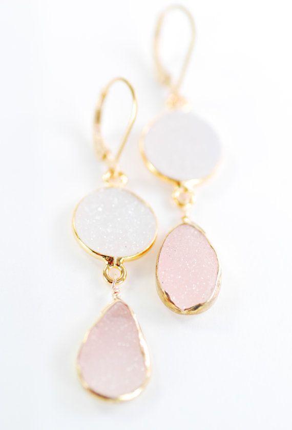 Kalala earrings - pink druzy gold earring, pink white drop earring,dangle earring, pink wedding jewelry, bridesmaid earring, wedding, hawaii...