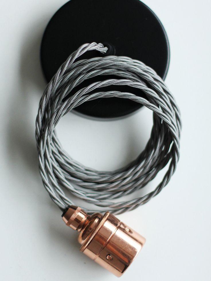 Twisted Flex & Copper Pendant Light Set- Slate   Cox & Cox