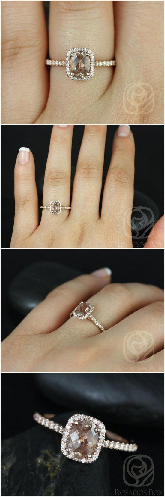 Romani 7x5mm 14kt Rose Gold Oregon SunStone and Diamonds Cushion Halo Engagement Ring / http://www.deerpearlflowers.com/inexpensive-engagement-rings-under-1000/