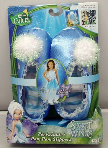 Disney Fairies Periwinkle's Pom Pom Slippers 7 inches long x 3 inches wide, your daughter will love you for getting her these cute slippers.