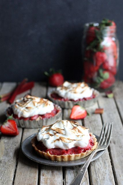 Strawberry Rhubarb Meringue Tartlets | Completely Delicious