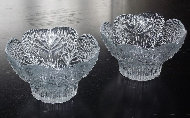 LASISEPAT Finland Pair of Cow Parsley Glass CANDLE HOLDERS, Pertti Kallioinen