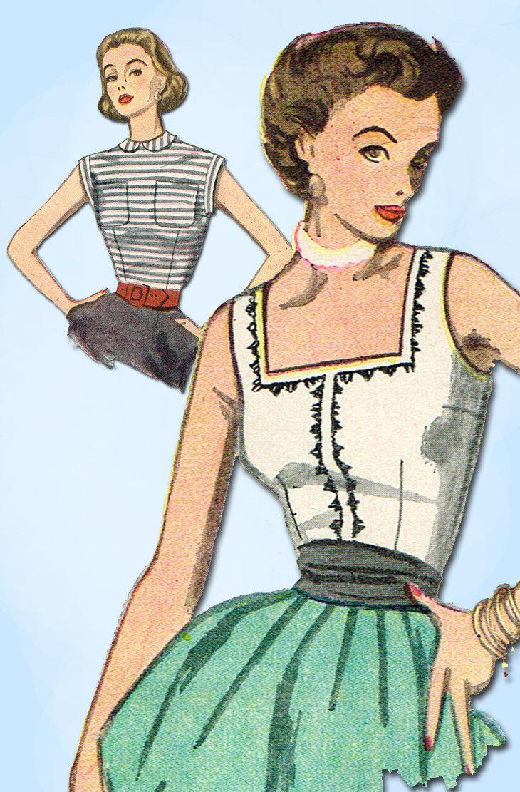 1950s Vintage Simplicity Sewing Pattern 3891 Uncut Misses Sleeeveless Blouse 32B