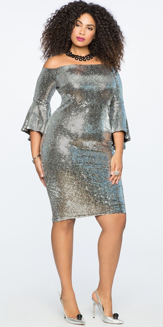 Plus Size Sequin Off the Shoulder Dress  #plussize #cocktaildress #party #holiday #dress
