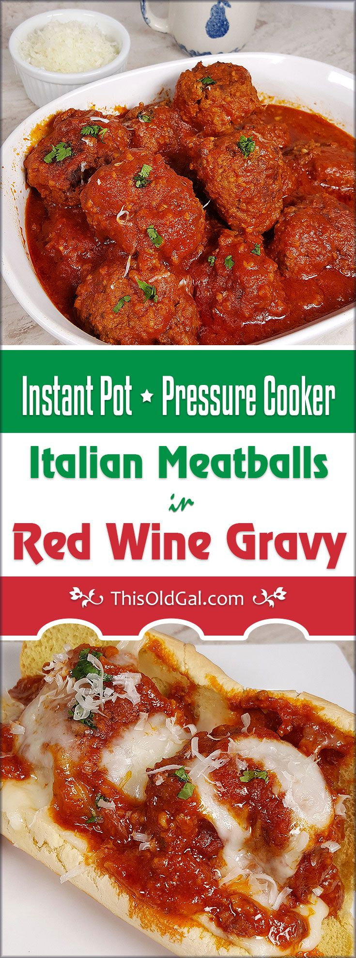Tender, moist and juicy Pressure Cooker Italian Meatballs in Red Wine Sauce are amazing. The Meatballs cook in a Rich and flavorful Tomato Sauce. via @thisoldgalcooks