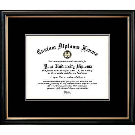 Campus Images 8.5x11 Petite Black Gold Trim, Double Black Mats, Certificate Frame