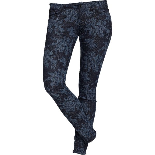 The Rockstar Printed Skinny Jeans in Blue Floral featuring polyvore women's fashion clothing jeans pants bottoms skinny jeans floral print jeans floral jeans floral skinny jeans old navy skinny jeans stretch denim jeans
