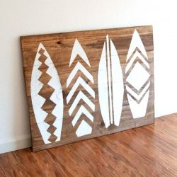 artsy surfboard wall hanging