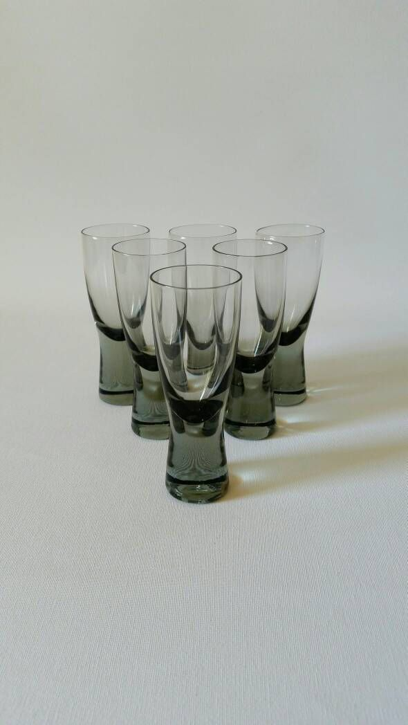 Holmegaard 'Canada' port wine sherry glasses designed by Per Lütken 1955 smoke coloured mid century by NordicFiesta on Etsy