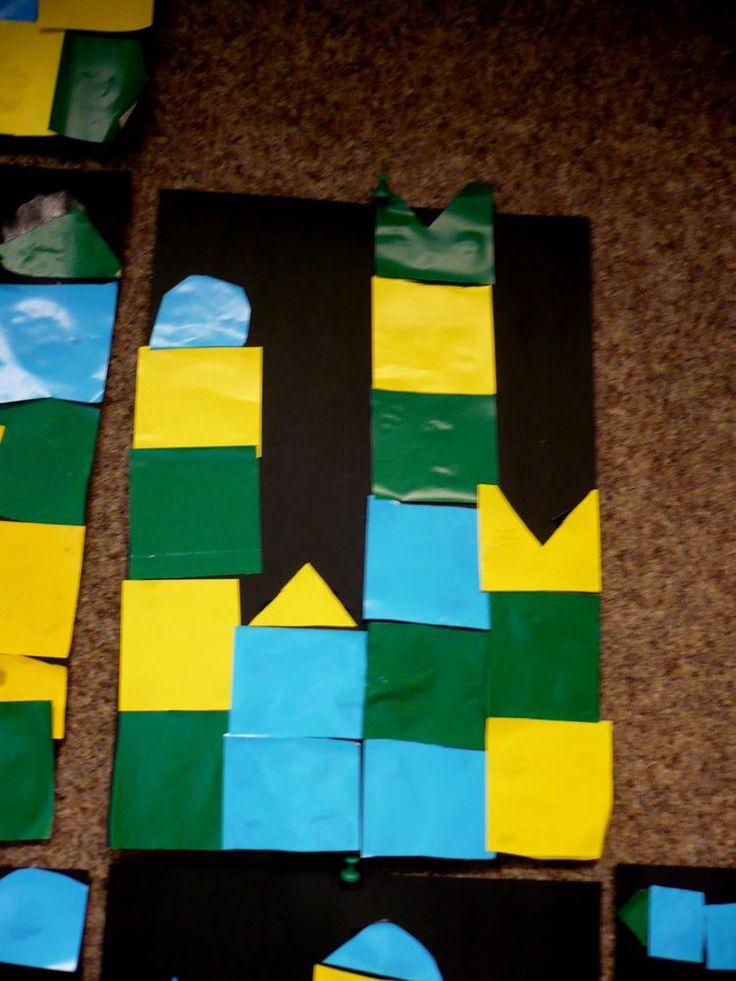 Foto: Paul Klee opdracht met 7 jarigen. Knip gelijke vierkanten en bouw daar een kasteel mee. Eventueel wat diagonalen wisselen of een dakje of zonnetje en klaar. Lijmen zonder dat je plaksel ziet.. Geplaatst door Jeseni op Welke.nl
